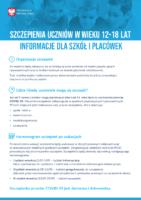 Szczepienia uczniów w wieku 12-18 lat - Informacje dla szkół i palcówek